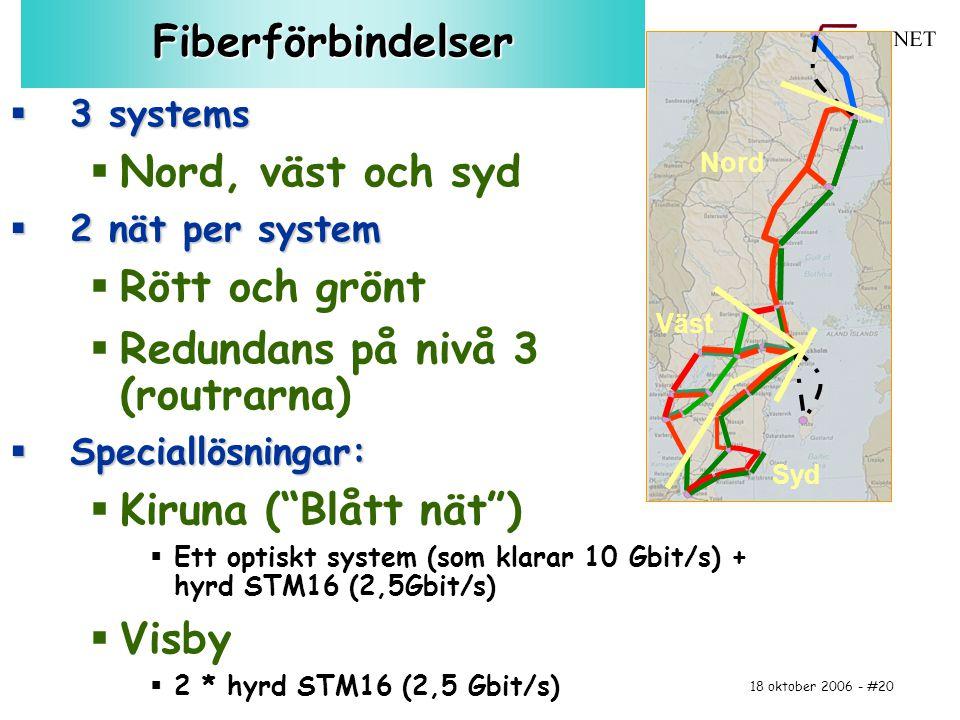 18 oktober 2006 - #20Fiberförbindelser  3 systems  Nord, väst och syd  2 nät per system  Rött och grönt  Redundans på nivå 3 (routrarna)  Specia