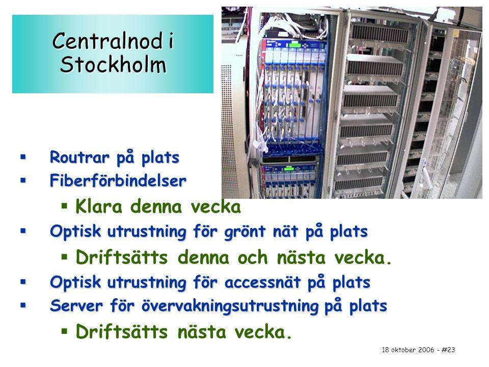 18 oktober 2006 - #23 Centralnod i Stockholm  Routrar på plats  Fiberförbindelser  Klara denna vecka  Optisk utrustning för grönt nät på plats  D