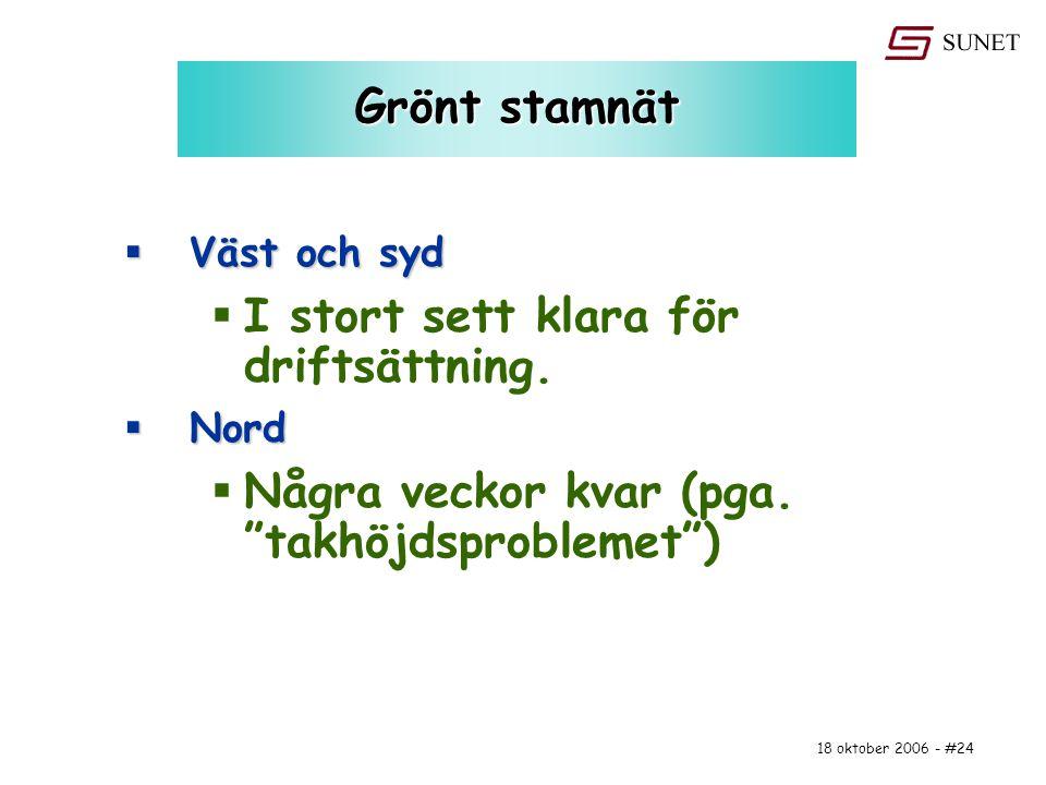 """18 oktober 2006 - #24 Grönt stamnät  Väst och syd  I stort sett klara för driftsättning.  Nord  Några veckor kvar (pga. """"takhöjdsproblemet"""")"""