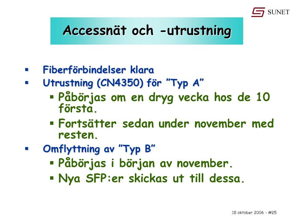 """18 oktober 2006 - #25 Accessnät och -utrustning  Fiberförbindelser klara  Utrustning (CN4350) för """"Typ A""""  Påbörjas om en dryg vecka hos de 10 förs"""