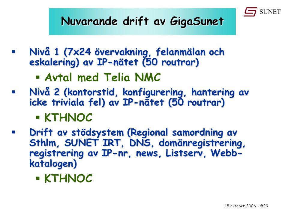 18 oktober 2006 - #29 Nuvarande drift av GigaSunet  Nivå 1 (7x24 övervakning, felanmälan och eskalering) av IP-nätet (50 routrar)  Avtal med Telia N