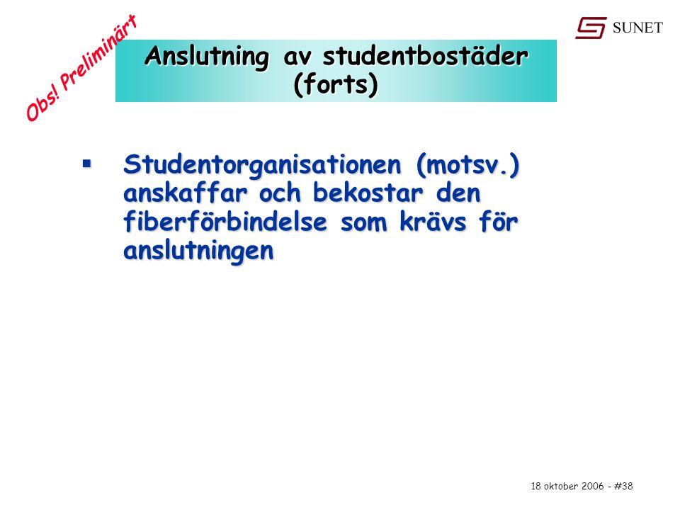 18 oktober 2006 - #38 Anslutning av studentbostäder (forts)  Studentorganisationen (motsv.) anskaffar och bekostar den fiberförbindelse som krävs för