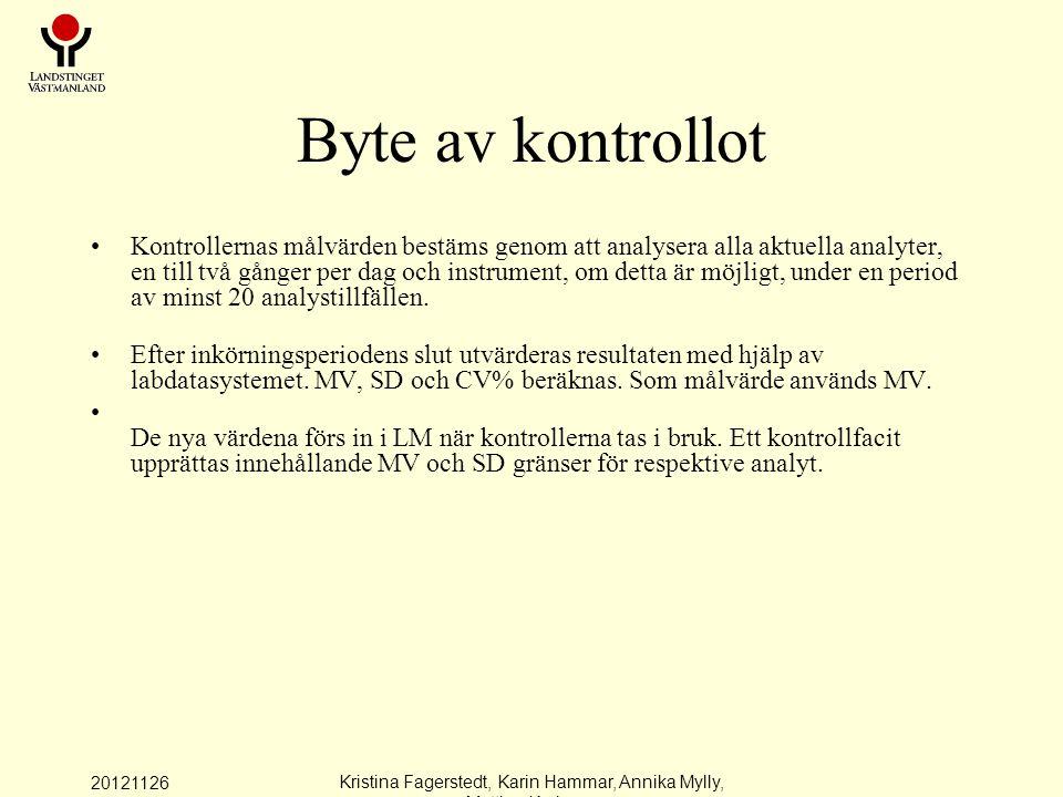 20121126 Kristina Fagerstedt, Karin Hammar, Annika Mylly, Mattias Karlman Byte av kontrollot Kontrollernas målvärden bestäms genom att analysera alla aktuella analyter, en till två gånger per dag och instrument, om detta är möjligt, under en period av minst 20 analystillfällen.
