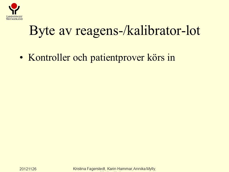 20121126 Kristina Fagerstedt, Karin Hammar, Annika Mylly, Mattias Karlman Byte av reagens-/kalibrator-lot Kontroller och patientprover körs in