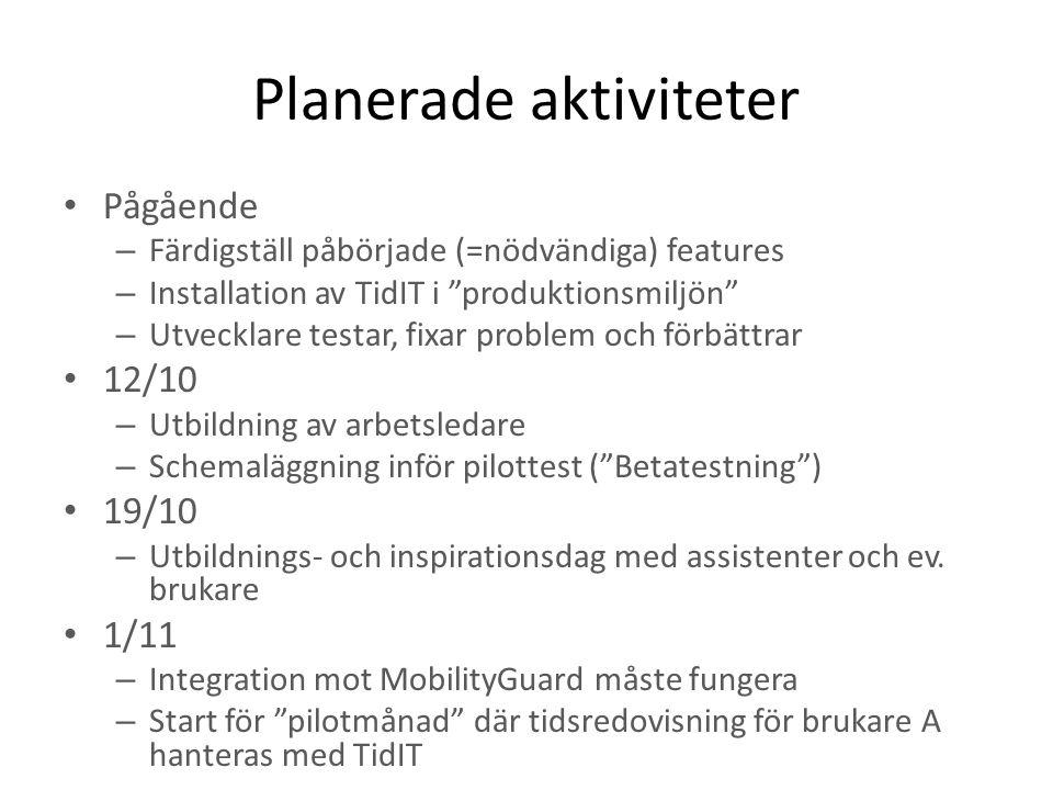 """Planerade aktiviteter Pågående – Färdigställ påbörjade (=nödvändiga) features – Installation av TidIT i """"produktionsmiljön"""" – Utvecklare testar, fixar"""