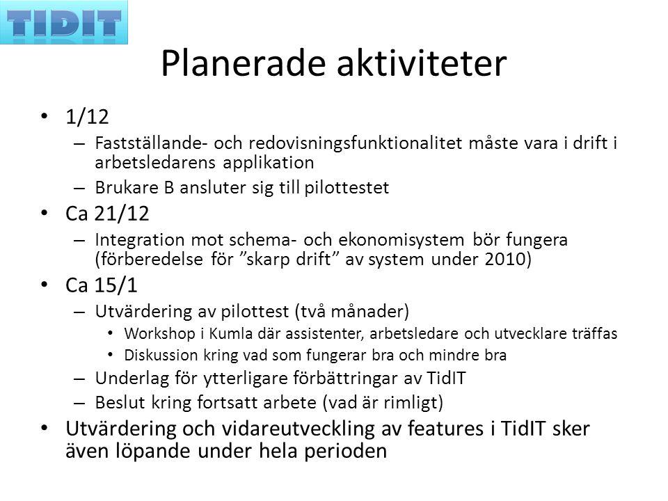 Planerade aktiviteter 1/12 – Fastställande- och redovisningsfunktionalitet måste vara i drift i arbetsledarens applikation – Brukare B ansluter sig ti