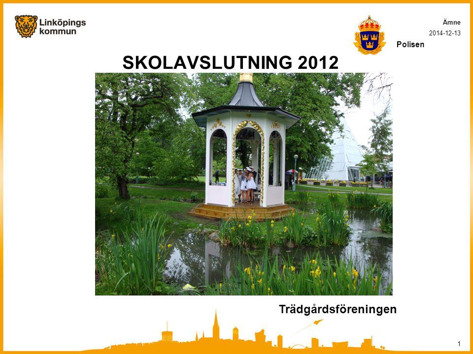 SKOLAVSLUTNING 2012 2014-12-13 1 Ämne Polisen Trädgårdsföreningen
