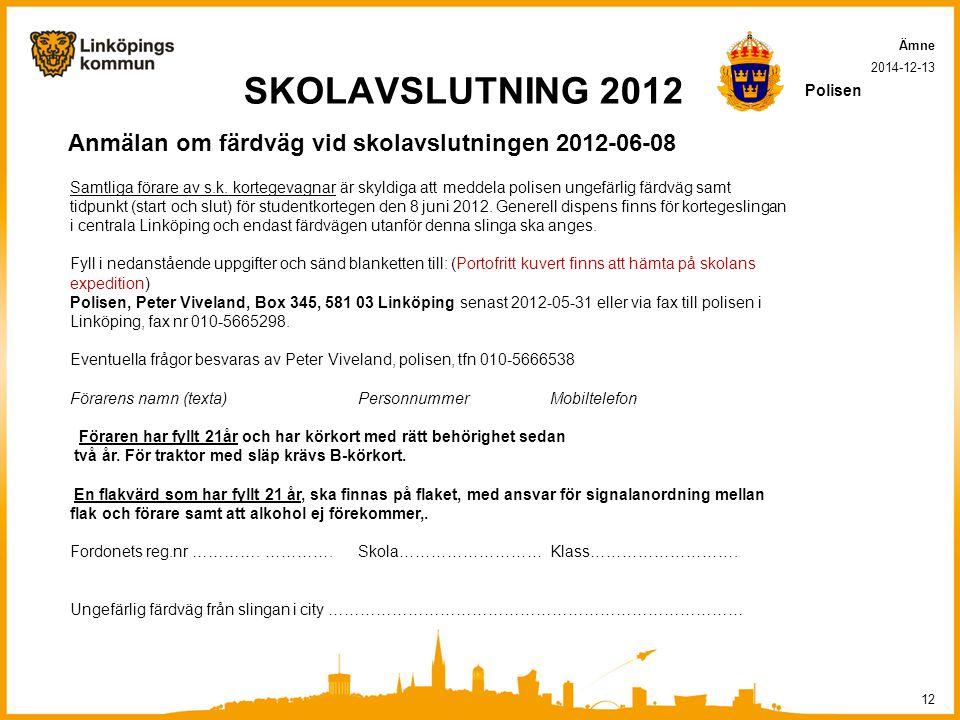 SKOLAVSLUTNING 2012 Anmälan om färdväg vid skolavslutningen 2012-06-08 2014-12-13 12 Ämne Polisen Samtliga förare av s.k.