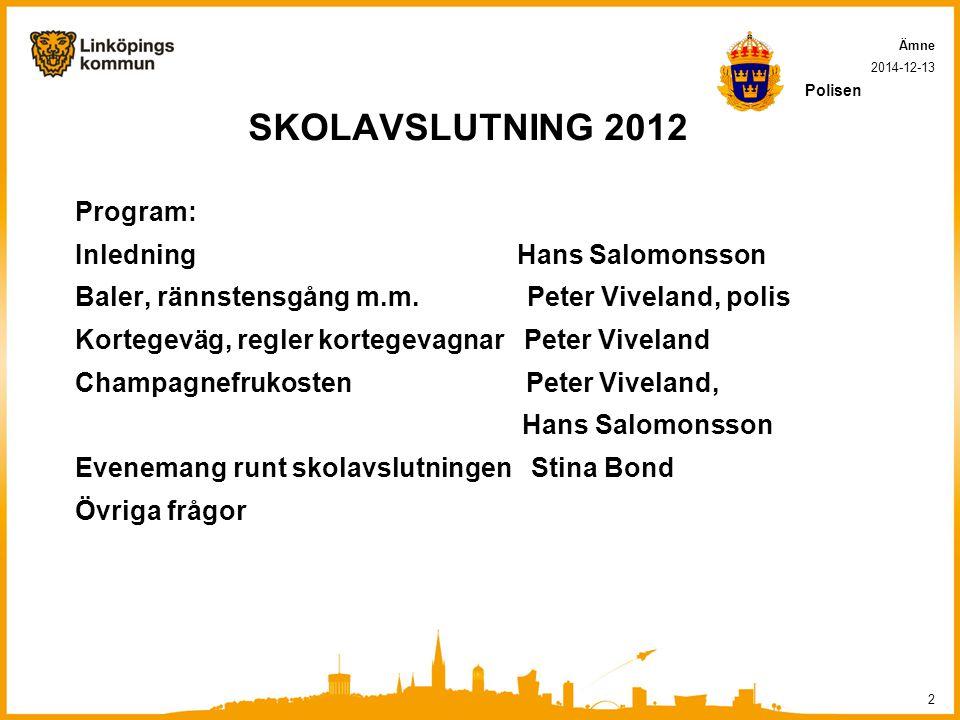 SKOLAVSLUTNING 2012 Program: Inledning Hans Salomonsson Baler, rännstensgång m.m.