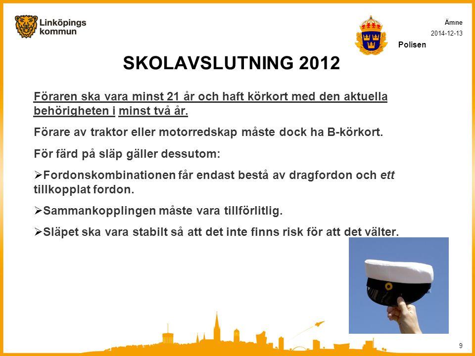 SKOLAVSLUTNING 2012 Föraren ska vara minst 21 år och haft körkort med den aktuella behörigheten i minst två år.