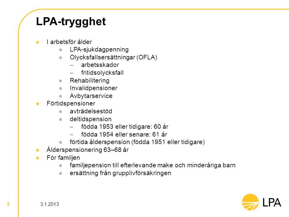 3.1.2013 2 LPA-trygghet I arbetsför ålder LPA-sjukdagpenning Olycksfallsersättningar (OFLA) – arbetsskador – fritidsolycksfall Rehabilitering Invalidp