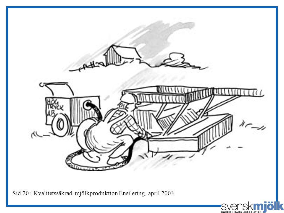 Sid 20 i Kvalitetssäkrad mjölkproduktion Ensilering, april 2003