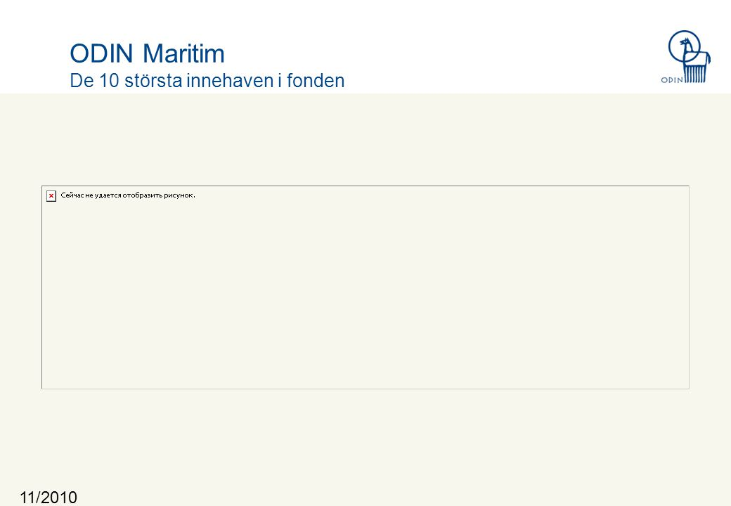 11/2010 ODIN Maritim De 10 största innehaven i fonden