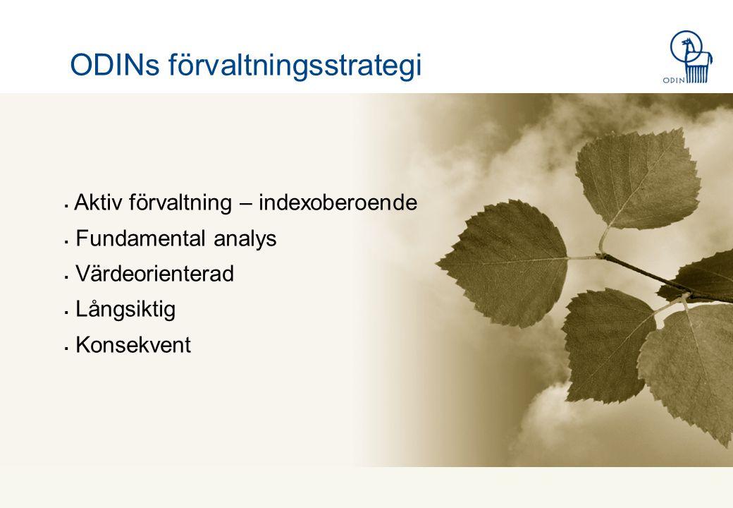 ODINs förvaltningsstrategi  Aktiv förvaltning – indexoberoende  Fundamental analys  Värdeorienterad  Långsiktig  Konsekvent