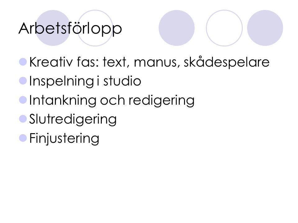 Arbetsförlopp Kreativ fas: text, manus, skådespelare Inspelning i studio Intankning och redigering Slutredigering Finjustering