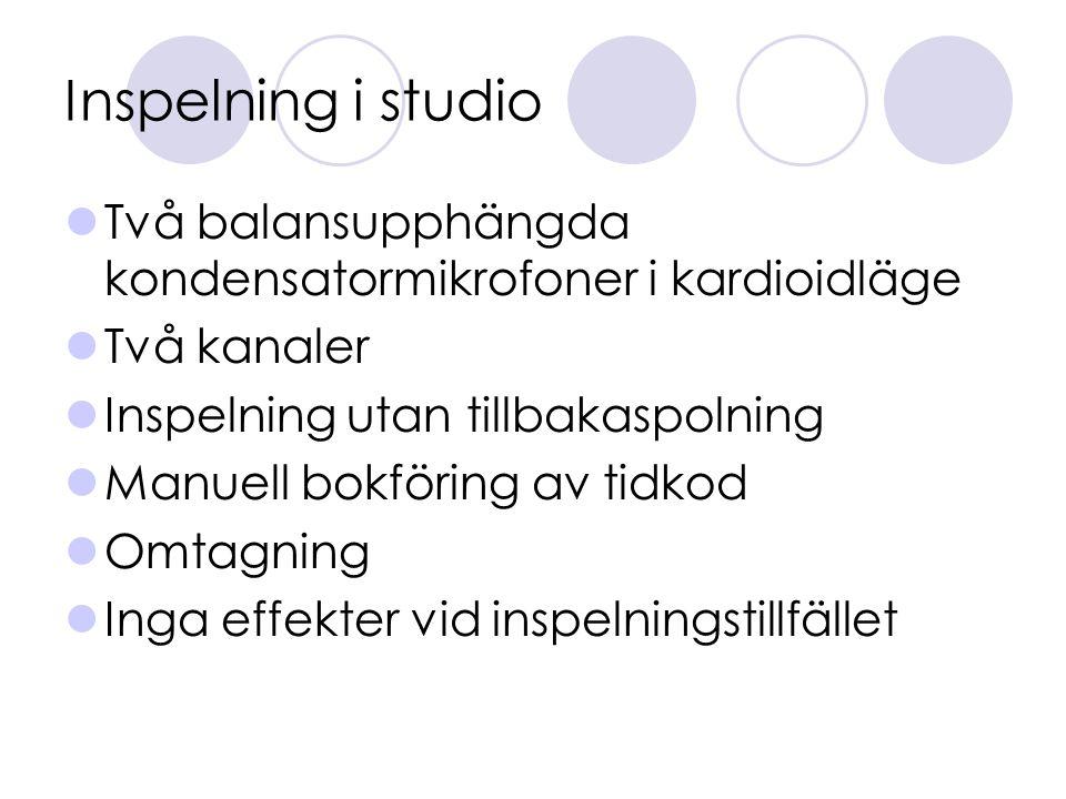 Inspelning i studio Två balansupphängda kondensatormikrofoner i kardioidläge Två kanaler Inspelning utan tillbakaspolning Manuell bokföring av tidkod