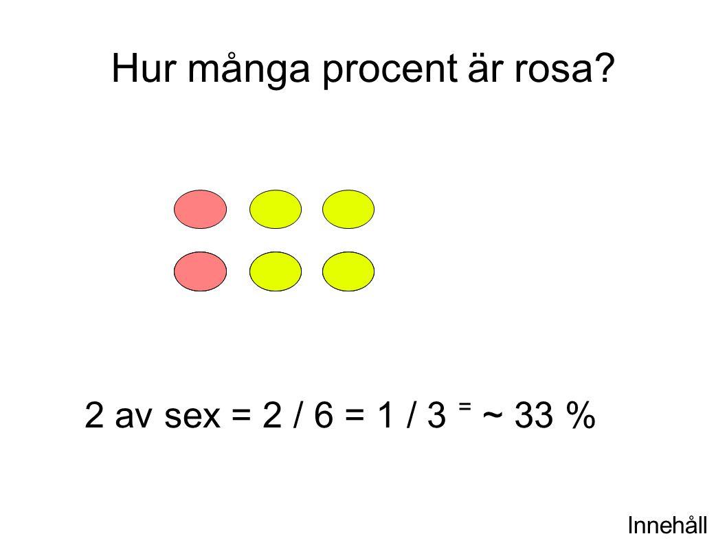 Innehåll Hur många procent är rosa? 2 av sex = 2 / 6 = 1 / 3 ⁼ ~ 33 %