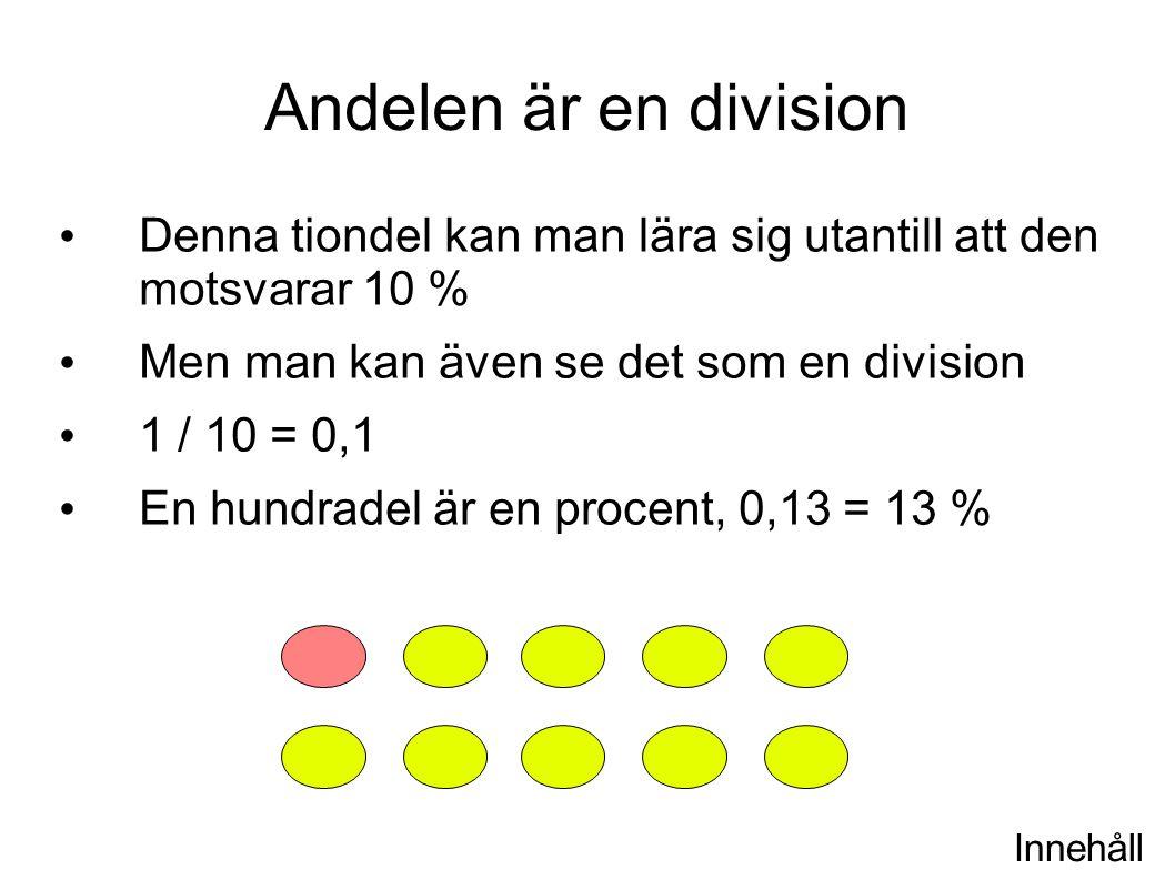 Innehåll Andelen är en division Denna tiondel kan man lära sig utantill att den motsvarar 10 % Men man kan även se det som en division 1 / 10 = 0,1 En hundradel är en procent, 0,13 = 13 %