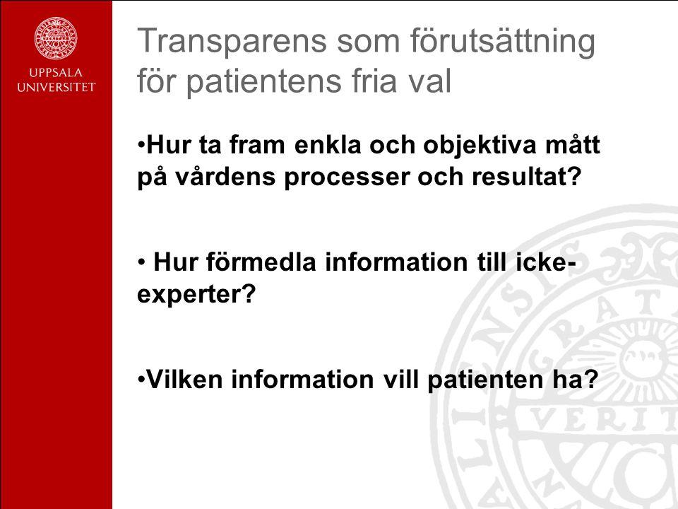 Transparens som förutsättning för patientens fria val Hur ta fram enkla och objektiva mått på vårdens processer och resultat.