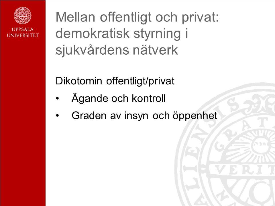 Mellan offentligt och privat: demokratisk styrning i sjukvårdens nätverk Dikotomin offentligt/privat Ägande och kontroll Graden av insyn och öppenhet