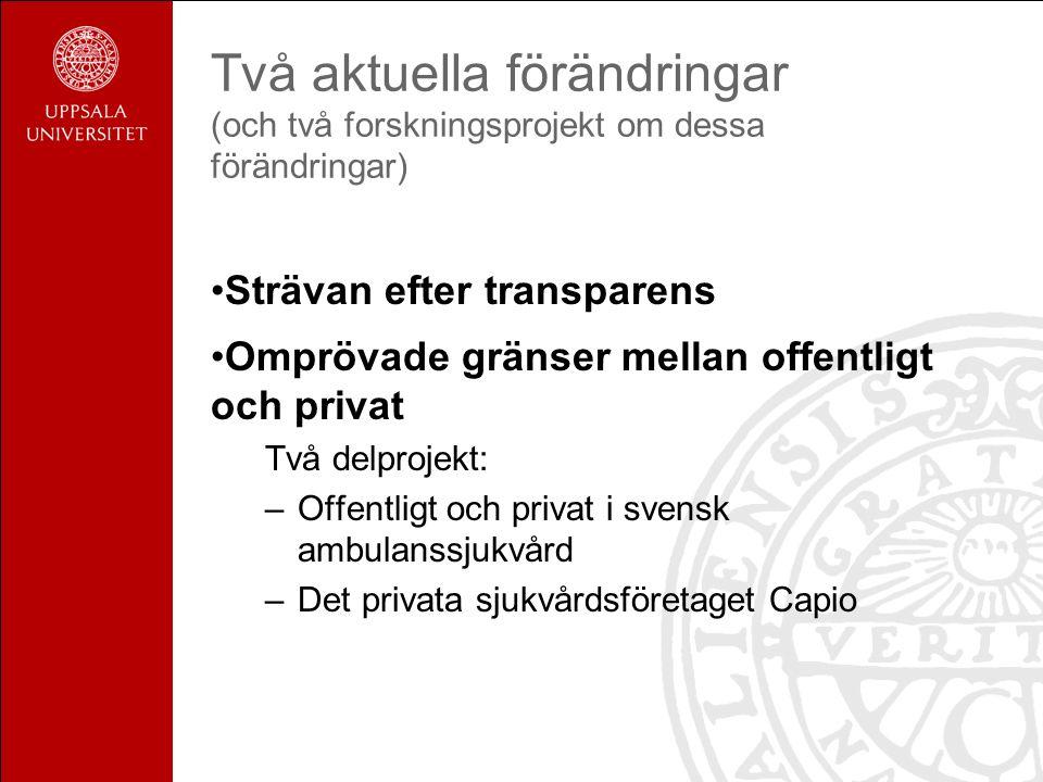Två aktuella förändringar (och två forskningsprojekt om dessa förändringar) Strävan efter transparens Omprövade gränser mellan offentligt och privat Två delprojekt: –Offentligt och privat i svensk ambulanssjukvård –Det privata sjukvårdsföretaget Capio