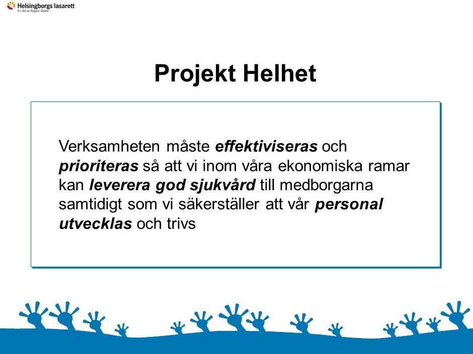 0 Projekt Helhet Verksamheten måste effektiviseras och prioriteras så att vi inom våra ekonomiska ramar kan leverera god sjukvård till medborgarna sam
