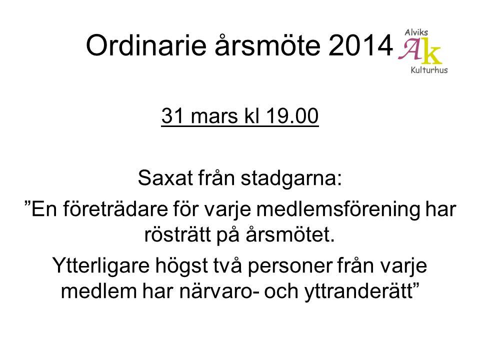 Ordinarie årsmöte 2014 31 mars kl 19.00 Saxat från stadgarna: En företrädare för varje medlemsförening har rösträtt på årsmötet.