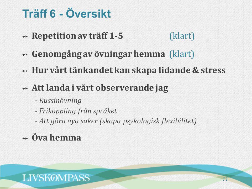 Träff 6 - Översikt 11 ➻ ➻ Repetition av träff 1-5 (klart) ➻ ➻ Genomgång av övningar hemma (klart) ➻ Hur vårt tänkandet kan skapa lidande & stress ➻ ➻ Att landa i vårt observerande jag - Russinövning - Frikoppling från språket - Att göra nya saker (skapa psykologisk flexibilitet) ➻ ➻ Öva hemma