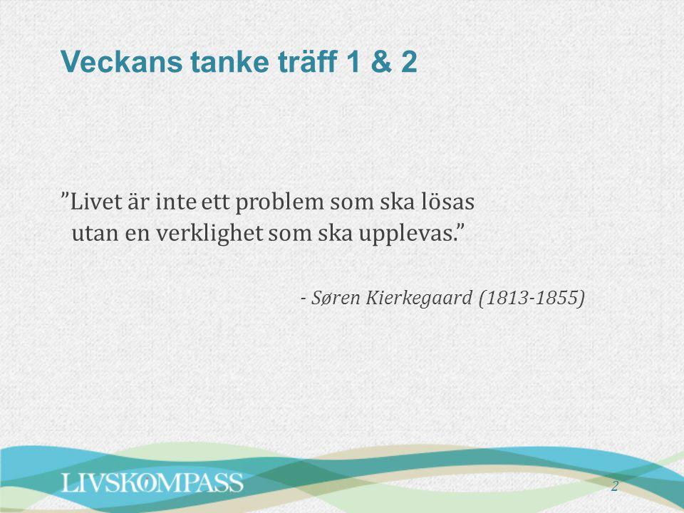 Veckans tanke träff 1 & 2 Livet är inte ett problem som ska lösas utan en verklighet som ska upplevas. - Søren Kierkegaard (1813-1855) 2