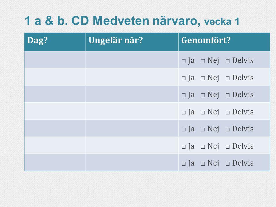 1 a & b. CD Medveten närvaro, vecka 2 Dag?Ungefär när?Genomfört? □ Ja □ Nej □ Delvis