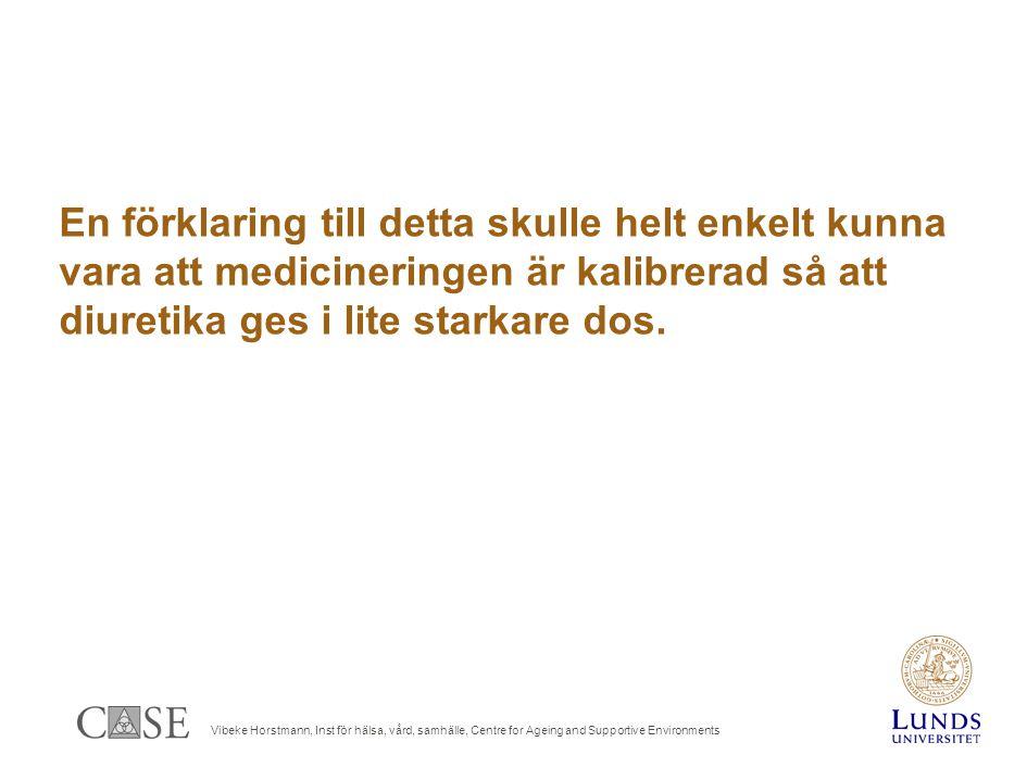 Vibeke Horstmann, Inst för hälsa, vård, samhälle, Centre for Ageing and Supportive Environments En förklaring till detta skulle helt enkelt kunna vara att medicineringen är kalibrerad så att diuretika ges i lite starkare dos.