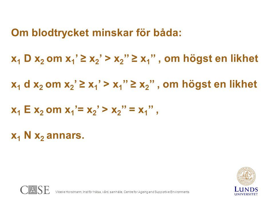 Vibeke Horstmann, Inst för hälsa, vård, samhälle, Centre for Ageing and Supportive Environments Om blodtrycket minskar för båda: x 1 D x 2 om x 1 ' ≥ x 2 ' > x 2 '' ≥ x 1 '', om högst en likhet x 1 d x 2 om x 2 ' ≥ x 1 ' > x 1 '' ≥ x 2 '', om högst en likhet x 1 E x 2 om x 1 '= x 2 ' > x 2 '' = x 1 '', x 1 N x 2 annars.