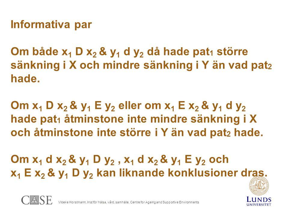 Vibeke Horstmann, Inst för hälsa, vård, samhälle, Centre for Ageing and Supportive Environments Informativa par Om både x 1 D x 2 & y 1 d y 2 då hade pat 1 större sänkning i X och mindre sänkning i Y än vad pat 2 hade.