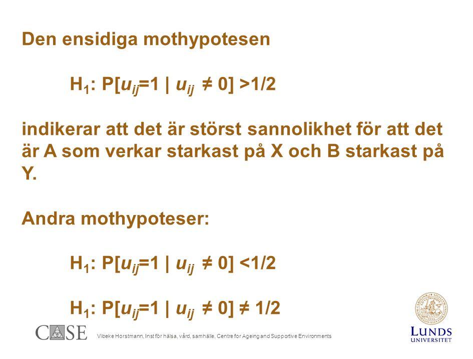 Vibeke Horstmann, Inst för hälsa, vård, samhälle, Centre for Ageing and Supportive Environments Den ensidiga mothypotesen H 1 : P[u ij =1 | u ij ≠ 0] >1/2 indikerar att det är störst sannolikhet för att det är A som verkar starkast på X och B starkast på Y.