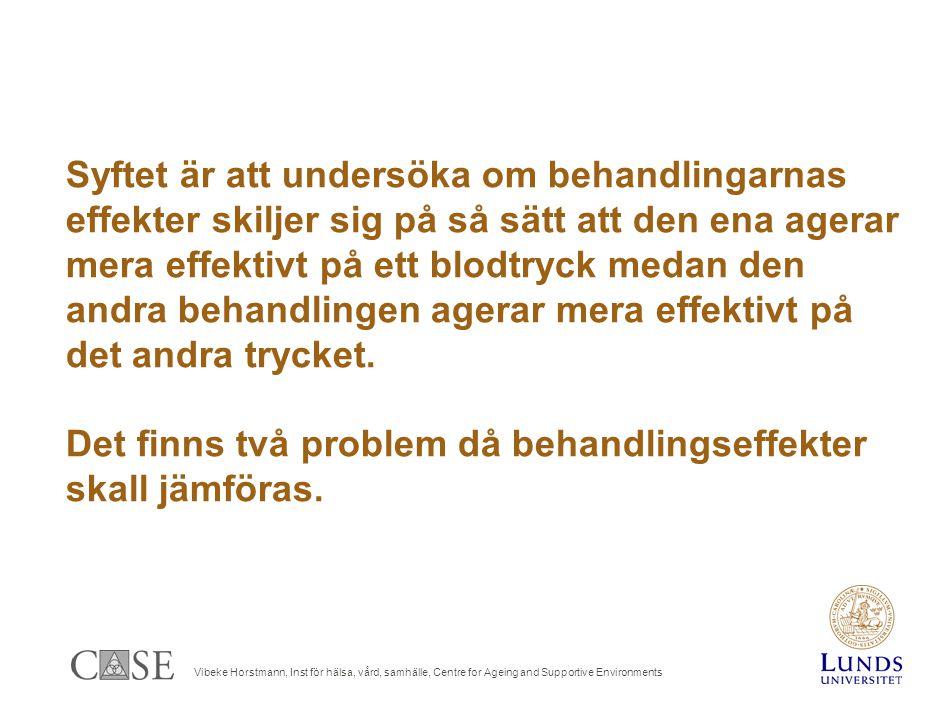Vibeke Horstmann, Inst för hälsa, vård, samhälle, Centre for Ageing and Supportive Environments Syftet är att undersöka om behandlingarnas effekter skiljer sig på så sätt att den ena agerar mera effektivt på ett blodtryck medan den andra behandlingen agerar mera effektivt på det andra trycket.