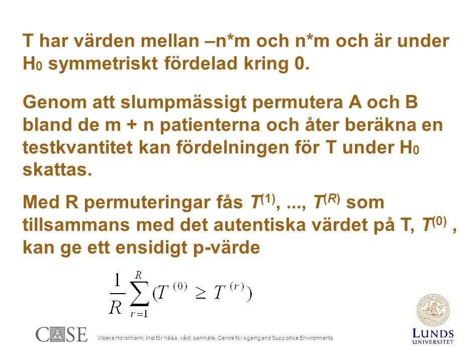 Vibeke Horstmann, Inst för hälsa, vård, samhälle, Centre for Ageing and Supportive Environments T har värden mellan –n*m och n*m och är under H 0 symmetriskt fördelad kring 0.
