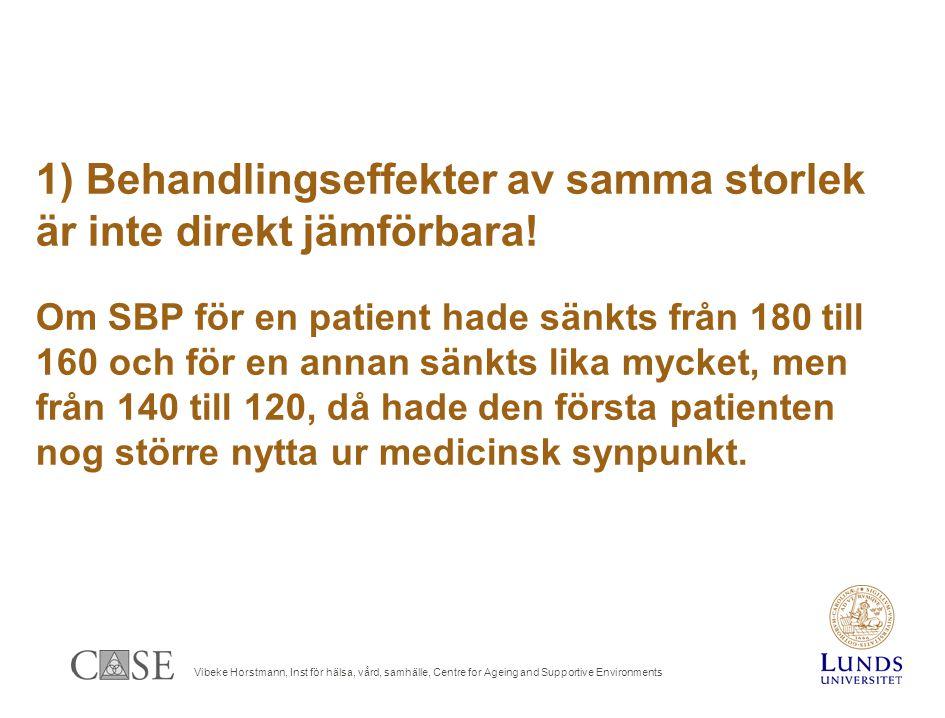 Vibeke Horstmann, Inst för hälsa, vård, samhälle, Centre for Ageing and Supportive Environments 1) Behandlingseffekter av samma storlek är inte direkt jämförbara.