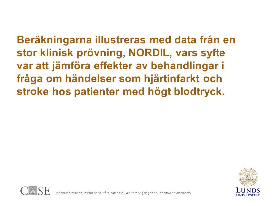 Vibeke Horstmann, Inst för hälsa, vård, samhälle, Centre for Ageing and Supportive Environments Beräkningarna illustreras med data från en stor klinisk prövning, NORDIL, vars syfte var att jämföra effekter av behandlingar i fråga om händelser som hjärtinfarkt och stroke hos patienter med högt blodtryck.