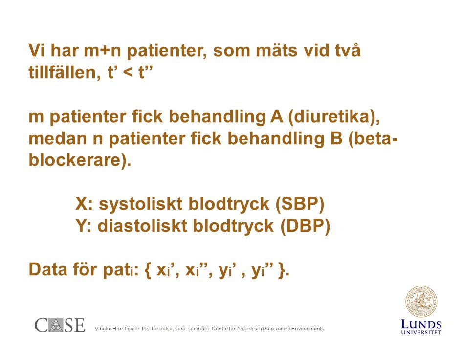 Vibeke Horstmann, Inst för hälsa, vård, samhälle, Centre for Ageing and Supportive Environments Vi har m+n patienter, som mäts vid två tillfällen, t' < t'' m patienter fick behandling A (diuretika), medan n patienter fick behandling B (beta- blockerare).