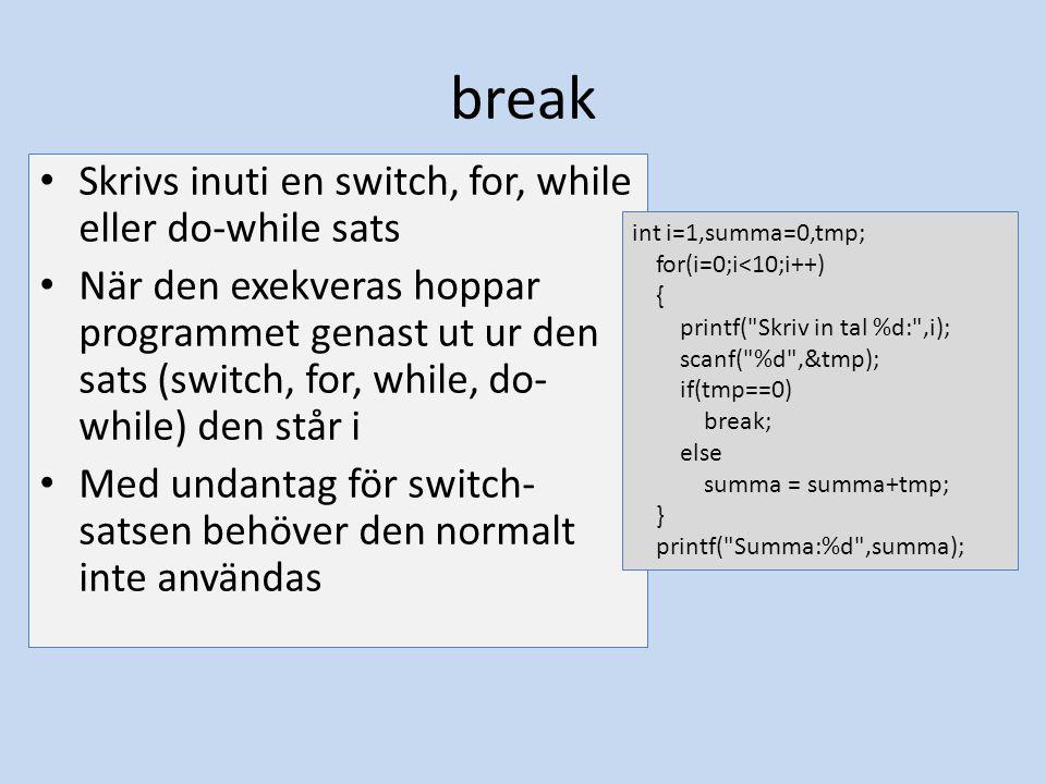break Skrivs inuti en switch, for, while eller do-while sats När den exekveras hoppar programmet genast ut ur den sats (switch, for, while, do- while)