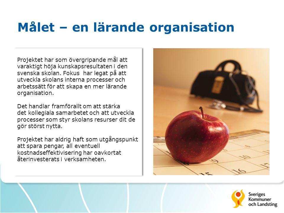 Målet – en lärande organisation Projektet har som övergripande mål att varaktigt höja kunskapsresultaten i den svenska skolan. Fokus har legat på att