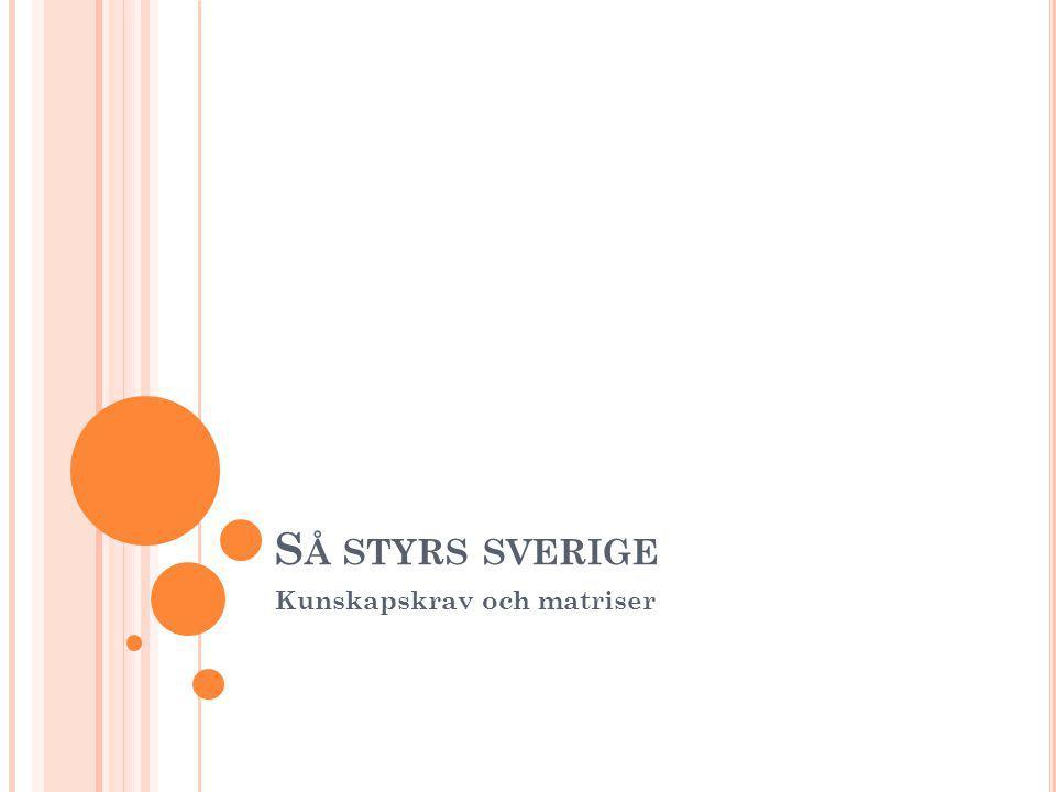 S Å STYRS SVERIGE Kunskapskrav och matriser