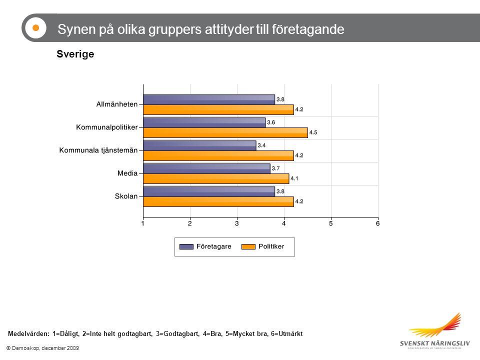 © Demoskop, december 2009 Synen på olika gruppers attityder till företagande Medelvärden: 1=Dåligt, 2=Inte helt godtagbart, 3=Godtagbart, 4=Bra, 5=Mycket bra, 6=Utmärkt Sverige