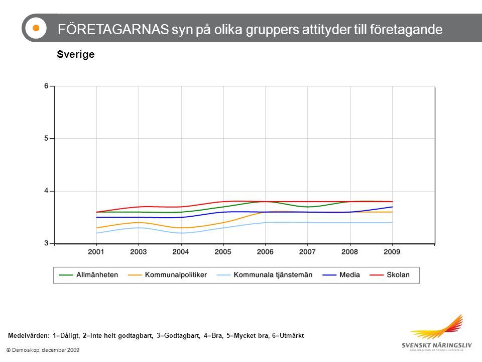 © Demoskop, december 2009 FÖRETAGARNAS syn på olika gruppers attityder till företagande Medelvärden: 1=Dåligt, 2=Inte helt godtagbart, 3=Godtagbart, 4=Bra, 5=Mycket bra, 6=Utmärkt Sverige