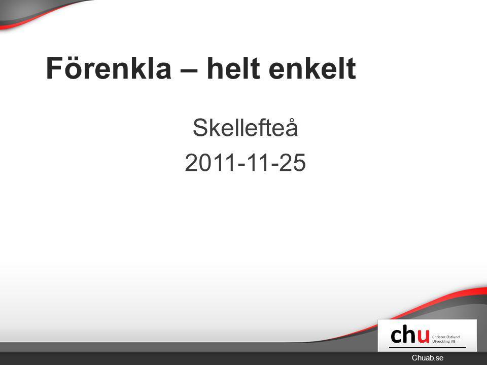 Chuab.se Förenkla – helt enkelt Skellefteå 2011-11-25