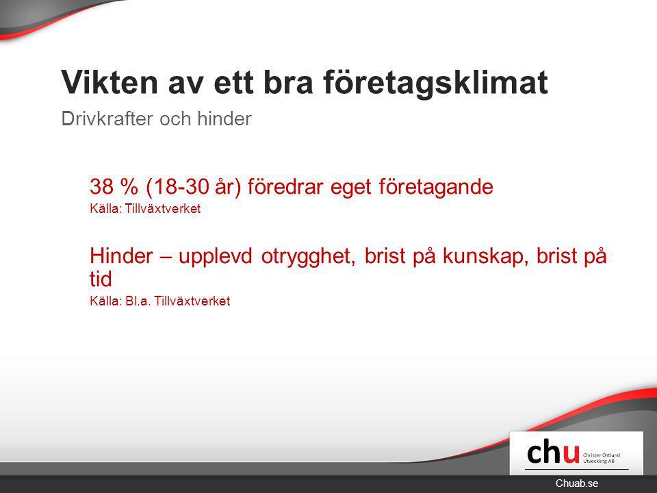 Chuab.se Vikten av ett bra företagsklimat 38 % (18-30 år) föredrar eget företagande Källa: Tillväxtverket Hinder – upplevd otrygghet, brist på kunskap, brist på tid Källa: Bl.a.