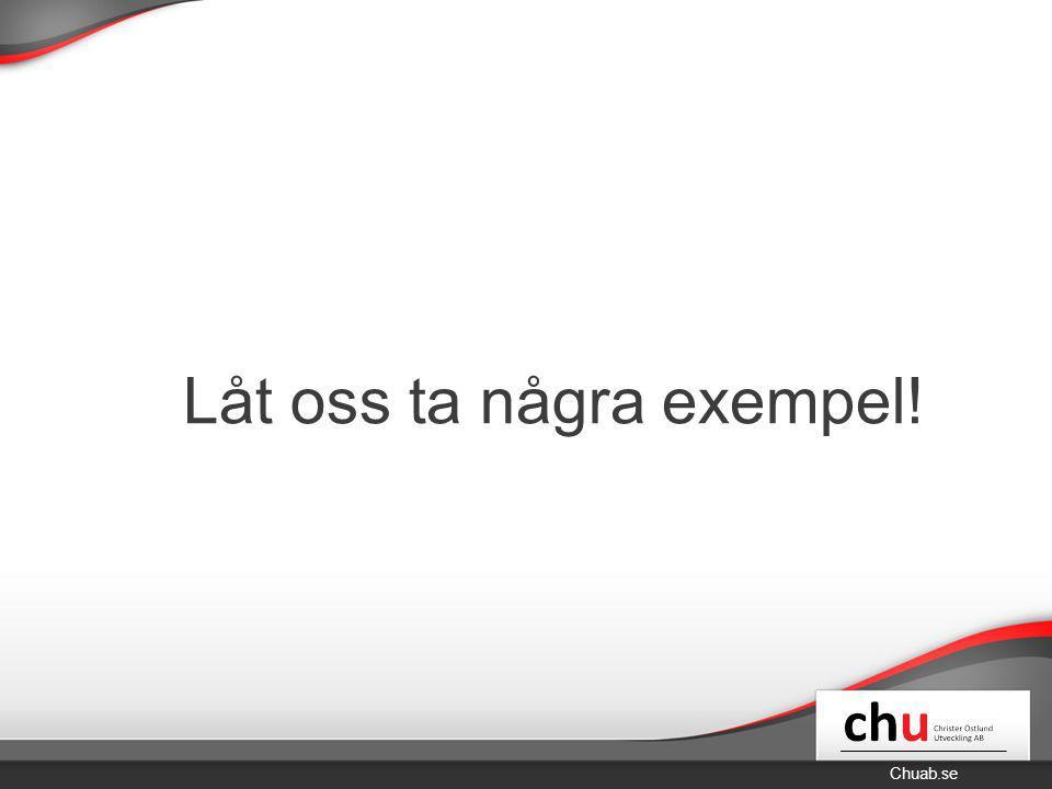 Chuab.se Låt oss ta några exempel!