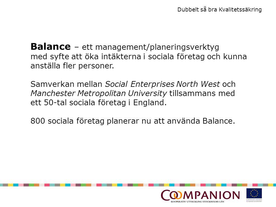 Balance – ett management/planeringsverktyg med syfte att öka intäkterna i sociala företag och kunna anställa fler personer.