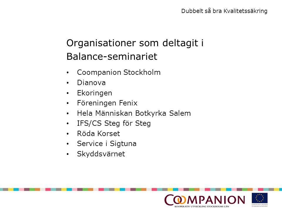 Dubbelt så bra Kvalitetssäkring Organisationer som deltagit i Balance-seminariet Coompanion Stockholm Dianova Ekoringen Föreningen Fenix Hela Människan Botkyrka Salem IFS/CS Steg för Steg Röda Korset Service i Sigtuna Skyddsvärnet