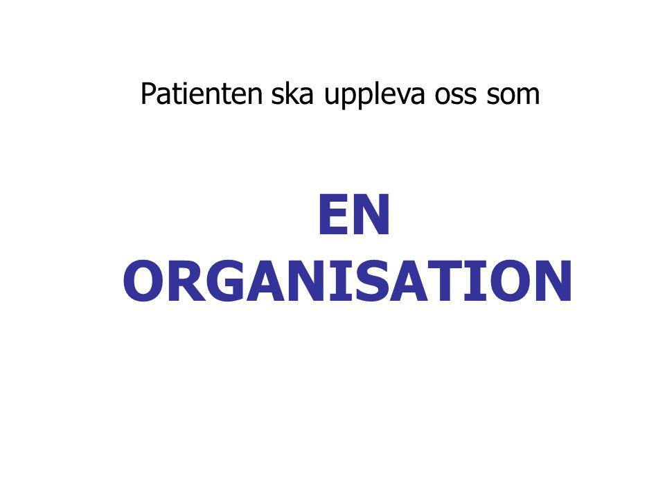EN ORGANISATION Patienten ska uppleva oss som